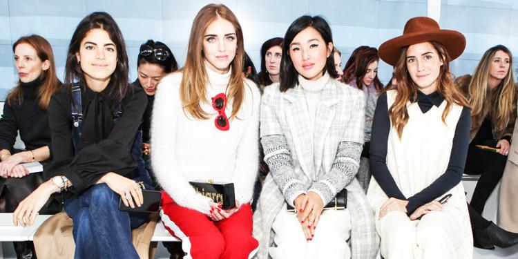 Leandra Medine, Chiara Ferragni, Nicole Warne, and Gala Gonzalez sitting front row at Delpozo via Harper's Bazaar